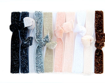 Package of 10- Neutral Sparkling Solid Color Elastic Hair Ties for Pony Tails or Elastic Sparkling Bracelet