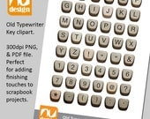 Old Typewriter Key Alphabet Digital Clipart. All 300dpi PNG and PDF files. Use to add finishing touches to scrapbooking projects.