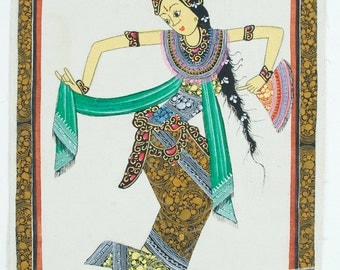 Painting of dancer (no.1) - Traditional Balinese drawing