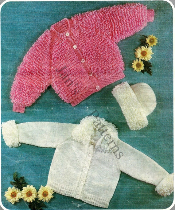 Loopy Cardigan Knitting Pattern : Babies childs loopy cardigan jacket hat by