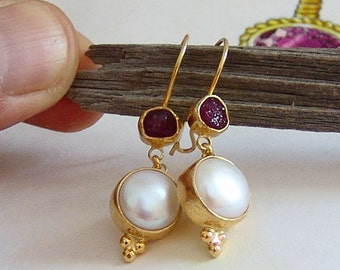 Pearl & Rough Ruby Earrings by Ferimer 14k Gold Plated Over Sterling Silver Handmade