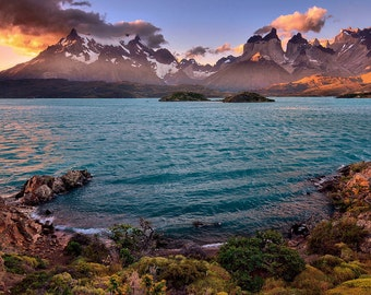 Landscape Photography, Nature Photography, Wall Decor, Chile, Torres Del Paine, Patagonia, Mountain, Lake, Sunset,