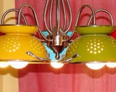 Upcycled Chandelier Light Fixture, Rustic Enamel Colander Light, Colander Chandelier Hanging Light Fixture