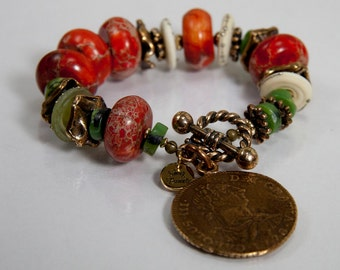 While Rome Burns Bracelet - serpentine, dyed agate,lampwork discs, gold filled rondels and bronze