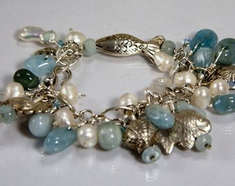 Catch of the Day Bracelet - freshwater pearls, aquamarine and sterling silver
