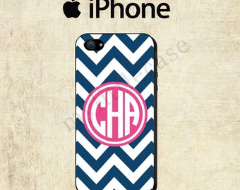 iPhone 6 Case - iPhone 6 Plus - Monogram iPhone 6 Case - iPhone 5C Case - Blue Chevron Pink iPhone 5S Case - iPhone 4 Case