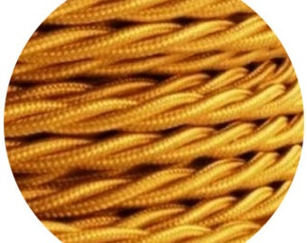 Fabric Textile cable wire for Lighting twisted 2x0.75 in gold
