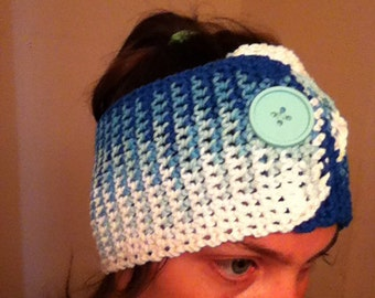Head warmer (hippi blue) s/m, cotton headwrap, ear warmer, winter wear