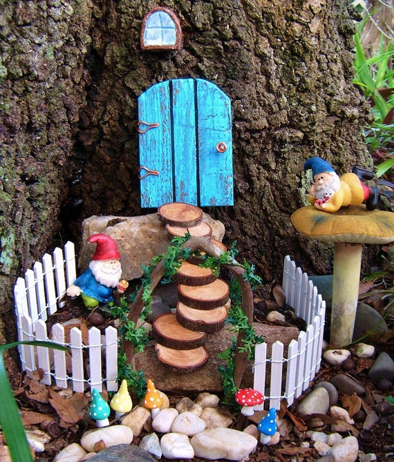 Fairy garden set gnome door with steps 5 by for Outdoor fairy doors australia