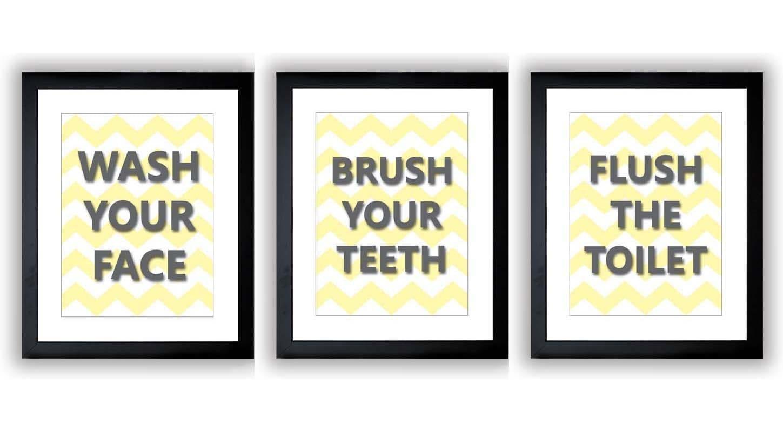 Yellow Grey Gray Bathroom Print Chevron Art Child Baby Art Print Set of 3 Kids Wall Decor Art Nurser