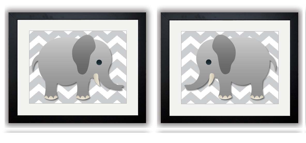 Grey Chevron Grey Elephant Nursery Art Nursery Print Print Set of 2 Elephants Child Art Prints Boy K
