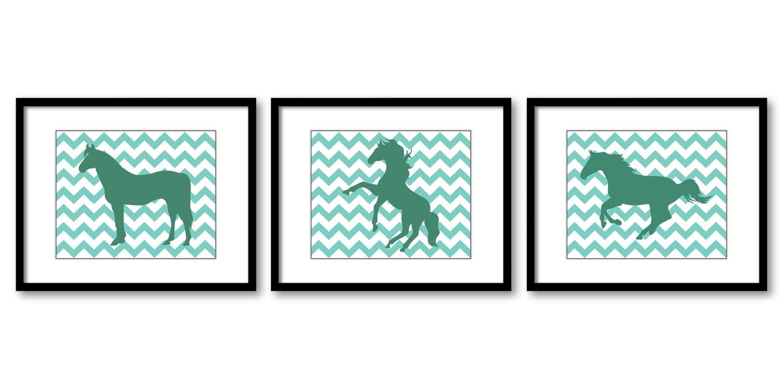 Green Teal Horse Horses Set of 3 Nursery Art Nursery Print Child Baby Art Print Girls Kids Room Wall