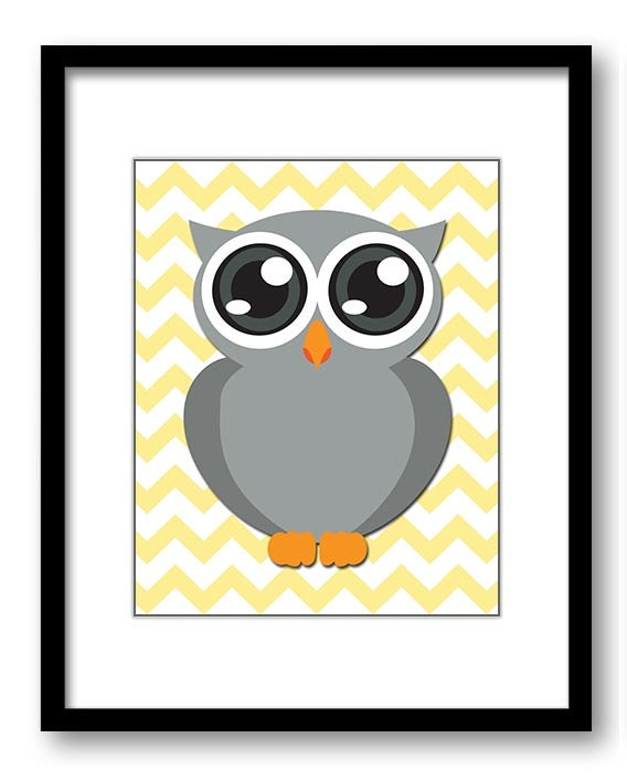 Owl Nursery Art Nursery Print Grey Owl Yellow Chevron Baby Art Baby Animal Pink Print Child Kids Wal