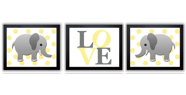 Yellow Polka Dots Grey Elephant LOVE Nursery Art Nursery Print Set of 3 Elephants Child Art Prints K