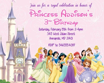 Princess Invitation - Disney Princess Invitation - Birthday Princess Invitation - Digital or Printed