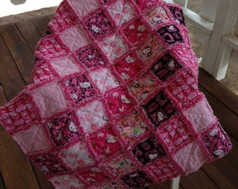 Hello Kitty Rag Quilt for baby or toddler