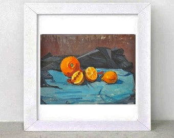 Still Life with Oranges.Black.blue.brown.