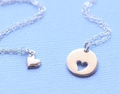 Mother Daughter Heart Necklace, Heart Cutout, Sterling Silver Charm, Love New Mom, Mothers Day, Mother of Bride, Mother to Be