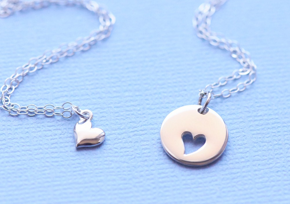 Mother Daughter Heart Necklace Heart Cutout Sterling Silver