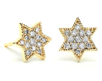 Gold Star Of David Earrings, Diamond Star Of David Earrings, Star Of David Stud Earrings, Bat Mitzvah Gift, Jewish Jewelry, Judaica