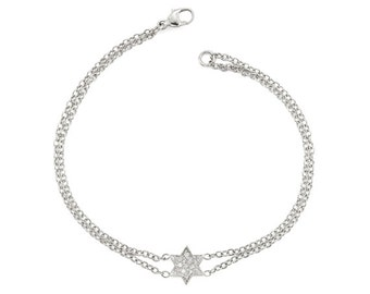 Silver Star Of David Bracelet - White Gold Star Of David Bracelet - Magen David Bracelet - Jewish Star Of David - Jewish Jewelry