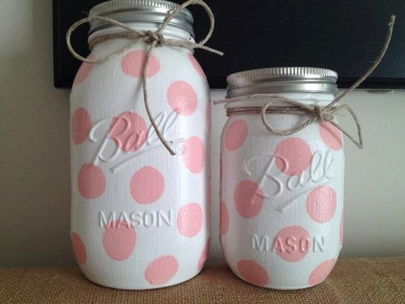 Polka Dot Colored Mason Jars, Home Decor, Nursery Decor, Baby Shower Gift, Jar Centerpieces, Bathroom Decor, Desk Accessories