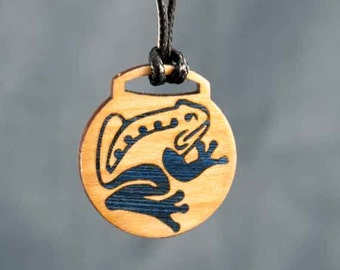 Maple Frog Wood Inlay Pendant