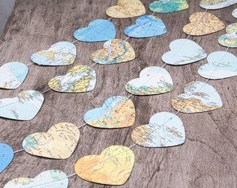 Paper garland bunting, wedding garland decor, recycled map garland, heart garland, atlas map garland, party home decor, nursery decor banner