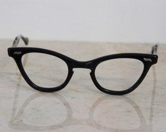 VINTAGE 1950's New Old Stock Imperial USA  Black Cat Eye Glasses Frames