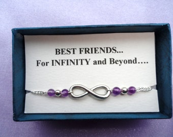 Infinity anklet, Friendship gift, Silver infinity amethyst ankle bracelet Infinity jewelry Bridesmaids gifts Ankle bracelet UK