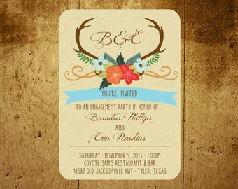 Whimsical Antlers Invitation: Engagement, Shower, Party, Event, Wedding