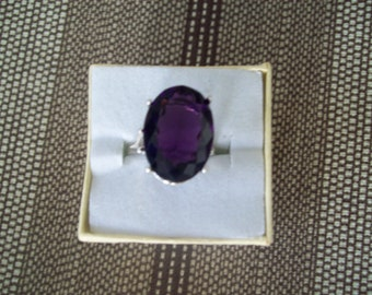 Created Amethyst Ring Sterling Silver - 18x13 mm