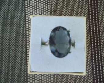 Created Gray Sapphire Ring Sterling Silver - Huge 18x13 mm
