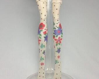 Dolls stockings for Monster high doll   Beige/black dot with flower   No.673