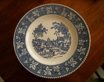 vintage blue plate,Shakespeare Country collection,USA