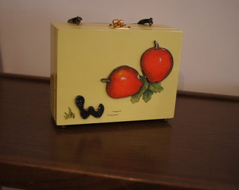 Vintage wooden purse-girl's purse-trinkets-storage-apple-worms-plastic handle-green inside