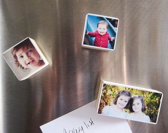 Personalized Photo Magnets in Pine Wood of your baby, family, mother's day gift great unique gift for grandparents, Set of 3 Variety Sizes
