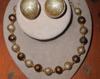 1950's Brown/Olive/Gold Sparkly Plastic Beaded Necklace & Earring Set