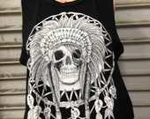 Tribal Skull Wold Crop Top