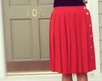 SALE: Vintage CHANEL Cashmere and Silk Pleated Skirt, sz 40