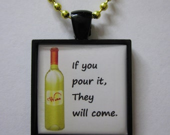If you Pour it, They Will Come Yellow/Black Cameo Necklace