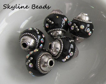 Indonesia Beads, Handmade, Black with Silver Embellishments and Rhinestones
