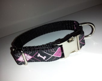 "The Little Pink Prep.  5/8"" Pink Doggie Argyle with Nickel Plated Quick Release Hardware"