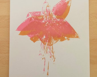 Handmade Screen Printed Metallic Fuchsia A5 Pink and Copper