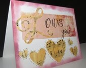 Love You greeting card music themed love card