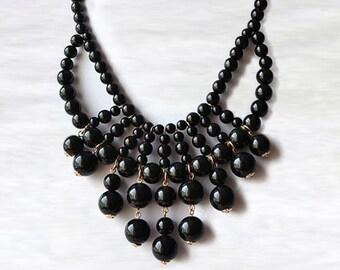 Olivia Necklace - Hot Popular / Black Beadwork bubble necklace, bib statement necklace, bridal bridesmaid party necklace