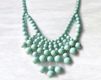 Olivia Necklace - Hot Popular / Mint Green Beadwork bubble necklace, bib statement necklace, bridal bridesmaid party necklace