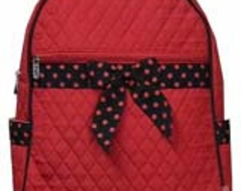 Machine embroidered Quilted Back-pack.  Personalized to your needs.  Texas Tech Red.