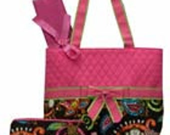 Machine Embroidered Quilted Diaper Bag-Monkey Print.  In Blue, Green, Brown and Pink . Includes FREE Personal Embroidery