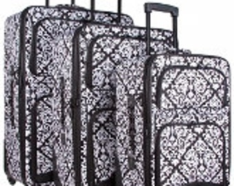 Three piece Luggage Set.  Damask Print in Black, Pink or Purple